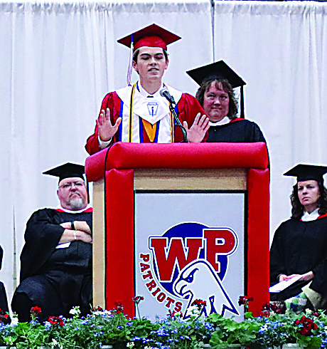 Photo Provided Adam Craig, 2017 Wheeling Park High School valedictorian, addresses the Patriot Class of 2017 during graduation in May.