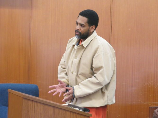 Photo by Jessica Broverman Convicted sex abuser Lamont Dees addresses the court Friday during his sentencing hearing before Ohio County Circuit Judge James Mazzone.