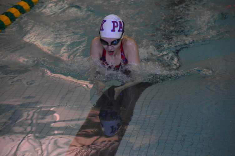 Photo by Cody Tomer Wheeling Park's Jenna Bopp competes in the girls 100 breaststroke during Saturday's OVAC swim meet at Brooke.