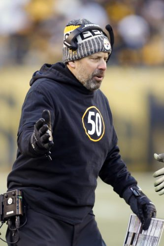 FILE - In this  Jan. 14, 2018, file photo, Pittsburgh Steelers offensive coordinator Todd Haley greets players as they come from the field during the second half of an NFL divisional football AFC playoff game against the Jacksonville Jaguars in Pittsburgh. A person with direct knowledge of the decision, confirmed to The Associated Press that the Steelers will not renew Haley's contract. The person spoke on condition of anonymity Wednesday, Jan. 17, 2018, because there was no formal announcement from Haley nor the team. Haley just finished his sixth season with the team. (AP Photo/Keith Srakocic, File)