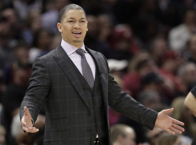 Cleveland Cavaliers head coach Tyronn Lue reacts in the first half of an NBA basketball game against the Oklahoma City Thunder, Saturday, Jan. 20, 2018, in Cleveland. The Thunder won 148-124. (AP Photo/Tony Dejak)
