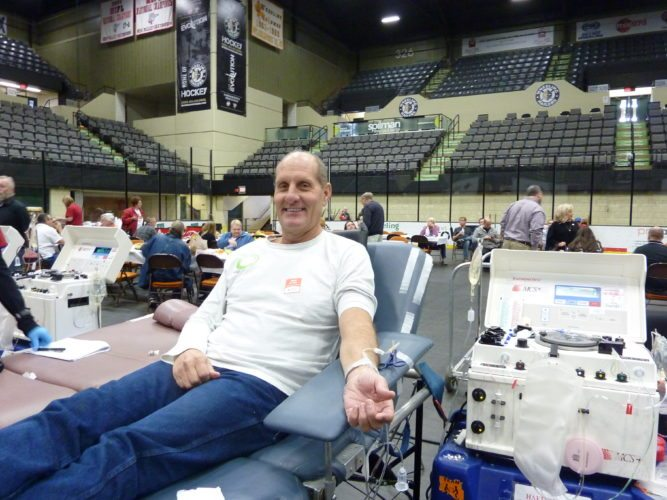 Photo by Linda Comins Eric Thomas of St. Clairsville prepares to donate blood during the Ohio Valley Media Day blood drive Monday at WesBanco Arena in Wheeling.