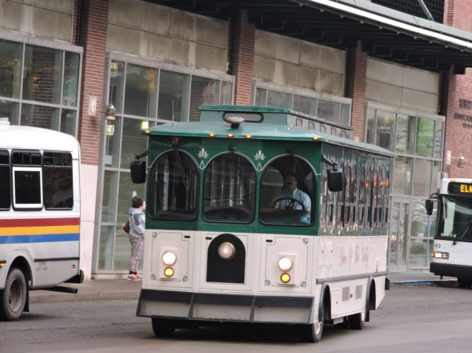 Photo by Casey Junkins The downtown Wheeling trolley pulls onto Main Street from the Robert C. Byrd Intermodal Transportation Center on Monday.