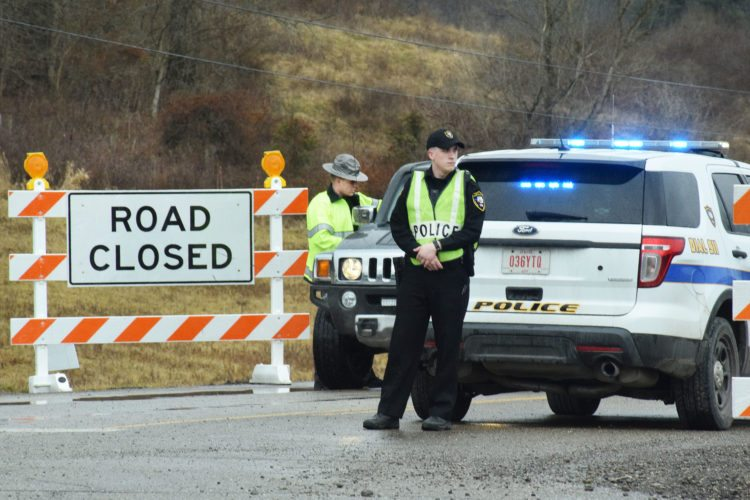 Photo by Scott McCloskey Emergency officials set up a command post along Ohio 148 next to the Clair Mar Golf Course in Powhatan Point Thursday while responding to a gas leak at XTO Energy's Schnegg well pad.
