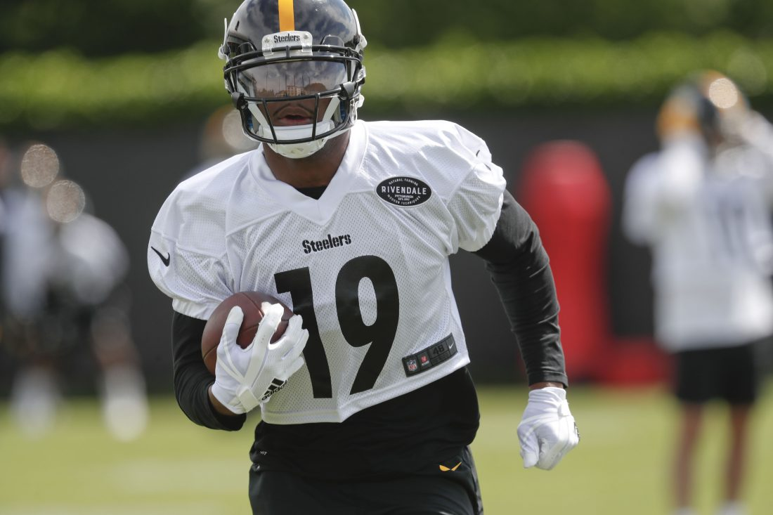 3fca25c4dd9 Pittsburgh Steelers wide receiver JuJu Smith-Schuster (19) during an NFL  football practice