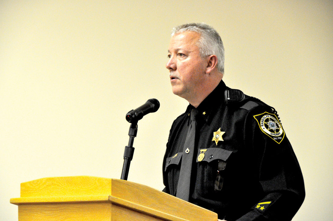 Randolph County Sheriff Mark T. Brady gives the Randolph County Commission a report on the activity of the Sheriff's Office and Mountain Region Drug and Violent Crime Task during their Thursday meeting.