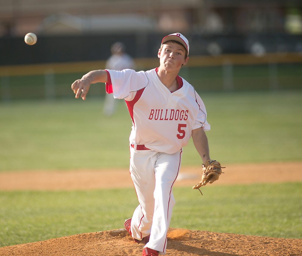Freshman Logan George, above, started the game on the mound for Tygarts Valley Thursday, striking out 3 batters. Hunter Lanham earned the win in relief.