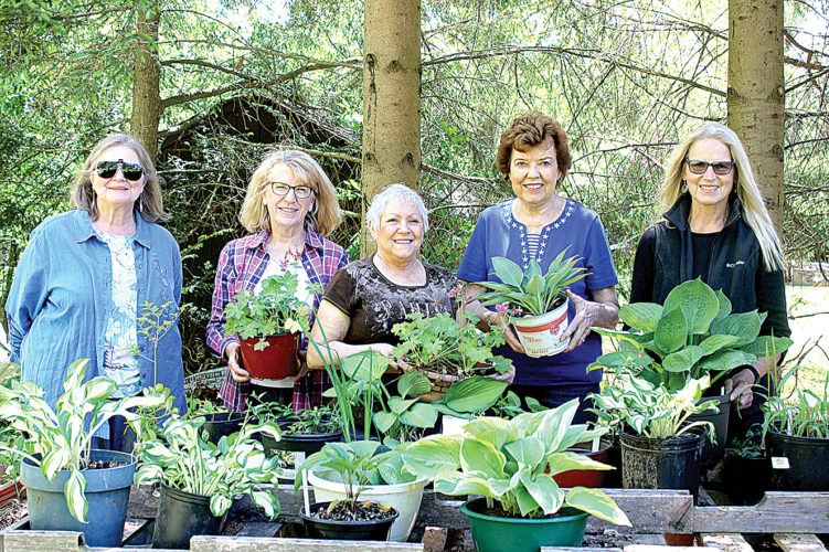 Preparing for the fourth annual Emma Scott Garden Club fundraiser are, from left, Becky Amorese, Patricia Mayes, B.J. McKenzie, Judy Guye-Swanson and Barbara Heasley.