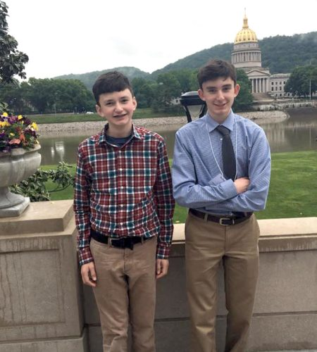 Submitted photo Michael DiBacco, right, visits Charleston this month after winning first place in 9th/10th-grade category of the West Virginia Young Writers Contest. He is shown here with his brother, Ryan.