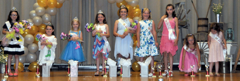 The Inter-Mountain photo by Bayli Helmick The winners of the 23rd annual Coalton Days Sunday Best Pageant on Tuesday include 2017 Miss Coalton Spirit Olivia DeWeese, age 7, daughter of Jennifer and Guy DeWeese of Coalton; Wee Miss 2017 Graciella Elmore, age 4, daughter of Aurora Arbogast and Michael Elmore of Coalton; Mini Miss 2017 Skye Iseli, age 6, daughter of Maddison Simmons of Mabie; Little Miss Brooklynn George, age 7, daughter of Moriah and RJ Bodkins and Justin and Sabrina George of Coalton; Junior Miss Abby Harlan, age 9, daughter of Melissa and BJ Harlan of Coalton; Most Photogenic Gracie Cullins, age 9, daughter of Debra and Jermiah Collins of Mabie; Prettiest Eyes Summer Bradley, age 9, daughter of Amanda and David Bradley of Coalton; Prettiest Smile Alyssa Shreve, age 7, daughter of Jamie and Derek Shreve of Cassidy; and Best Personality Alyssa Harlan, age 4, daughter of Peggy and Daniel Hamrick of Coalton.