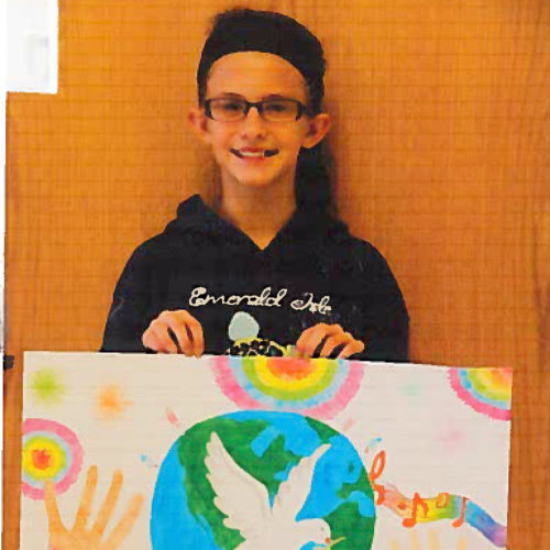 Submitted photo  Every fall, the Lions Club of Elkins sponsors a Peace Poster contest at Elkins Middle School. Out of nearly 100 entries, EMS student Lydia Blackburn was the 2016-17 winner of the Lions Club 'Peace Poster' contest. Blackburn won a $25 prize from the club and her poster advanced to the District 29-I competition.