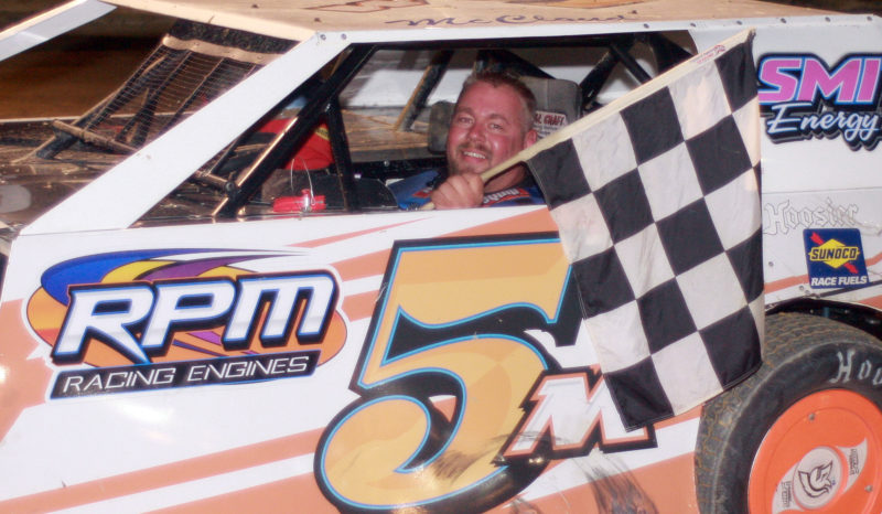 Submitted photo Jamie McCloud, a second-generation driver at Elkins Raceway, earned his first feature win in the Performance Chevrolet AMRA Modifieds on June 16.