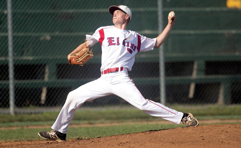 The Inter-Mountain photos by Kevin Hostetler Elkins Post 29's Read Schumacher earned his sixth win on the mound for Elkins Post 29 Wednesday, striking out 9 and giving up one unearned run against Jane Lew Post 166.