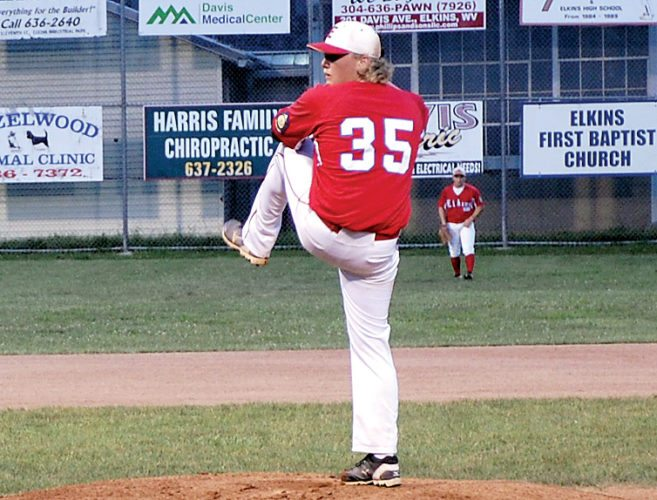 Elkins Post 29's  Adam Riggleman struck out 11 batters in earning the victory on the mound over Braxton County Post 33, 11-1, Thursday evening at Robin Harvey Memorial Field.