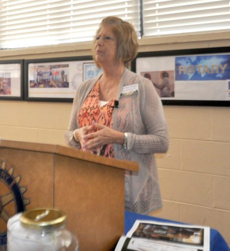 The Inter-Mountain photo by Beth Henry-Vance Robin Delaney, nurse liaison and nurse case manager for Mountain Hospice, speaks Monday to members of the Rotary Club of Elkins about the not-for-profit agency and its programs. The Rotary Club's weekly meetings take place at the Elkins-Randolph County YMCA.
