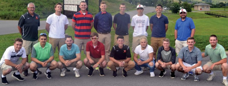The Inter-Mountain photo by Tony Baisi The Elkins Post 29 team members traveled to the Bridgeport Recreation Complex Tuesday evening to attend the opening picnic banquet kicking off the 2017 American Legion state tournament. From left in front are Luke Petrice, Cole Harlan, Justin Fike, Michael Gherman, Sam Ross, Ben McDonald, Read Shumacher, Caleb Riggleman, and Jared Kerns. From left in back row are assistant coach Tug Ross, Rece Wamsley, Kyle Riggleman, Ben Huffman, Matthew Gainer, Brett Smith, Noah Shears and assistant coach Steve Howell.