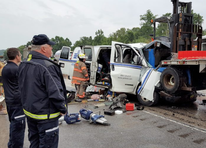 The Inter-Mountain photo by Joe Blankenship The West Virginia State Police are investigating a fatal crash that occurred on Corridor H Monday. The crash involved a van and a truck.