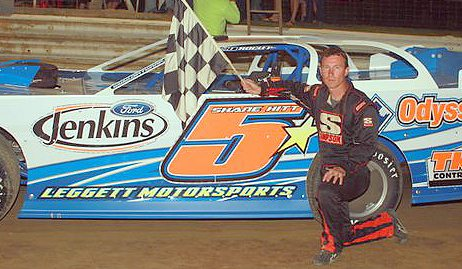 Submitted photo Shane Hitt of Buckhannon celebrates winning the Jenkins Ford Super Late Model main.
