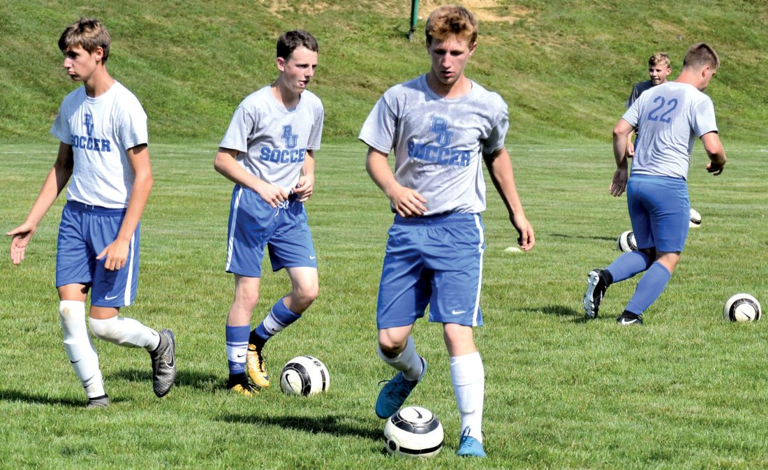 The Inter-Mountain  photos by Tony Baisi The Buckhannon-Upshur High School boys soccer squad includes 31 players this year, including five seniors and nine juniors.