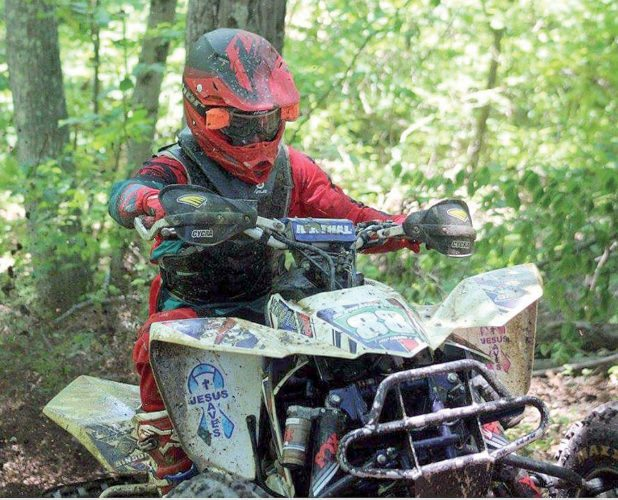 The Inter-Mountain photo by Brittany Hardy ATV rider Devin Masters makes his way through a tight woods section en route to his overall win on Saturday. Masters has won two races overall this season.