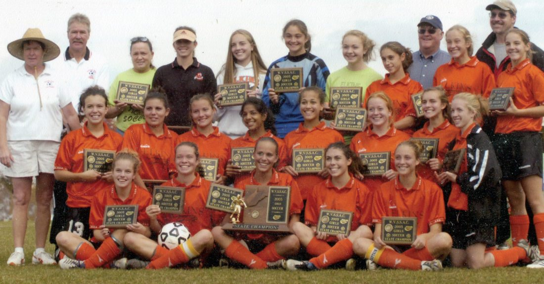 Submitted photos The 2005 Elkins High School girls soccer team went undefeated and became state champions.