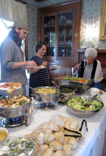 Submitted photo Dining guests serve themselves at a buffet earlier this summer at Adaland.
