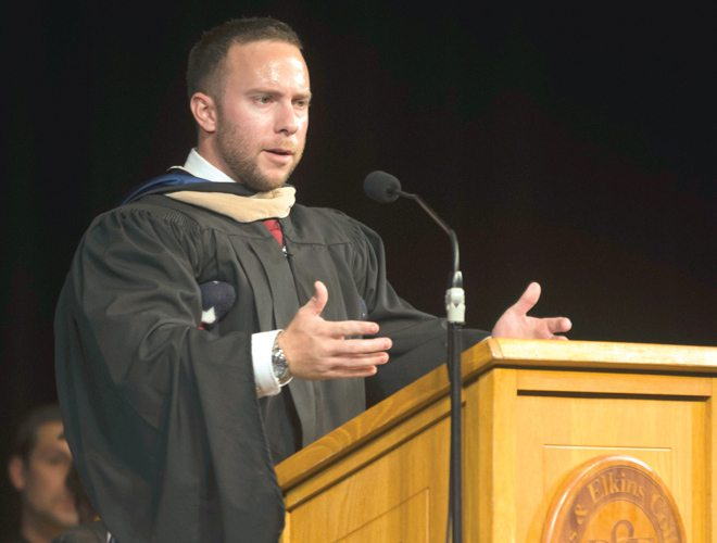 Retired Marine Cpl. Brandon Rumbaugh addresses incoming students at Saturday's Matriculation ceremony in Myles Center for the Arts Harper-McNeeley Auditorium.