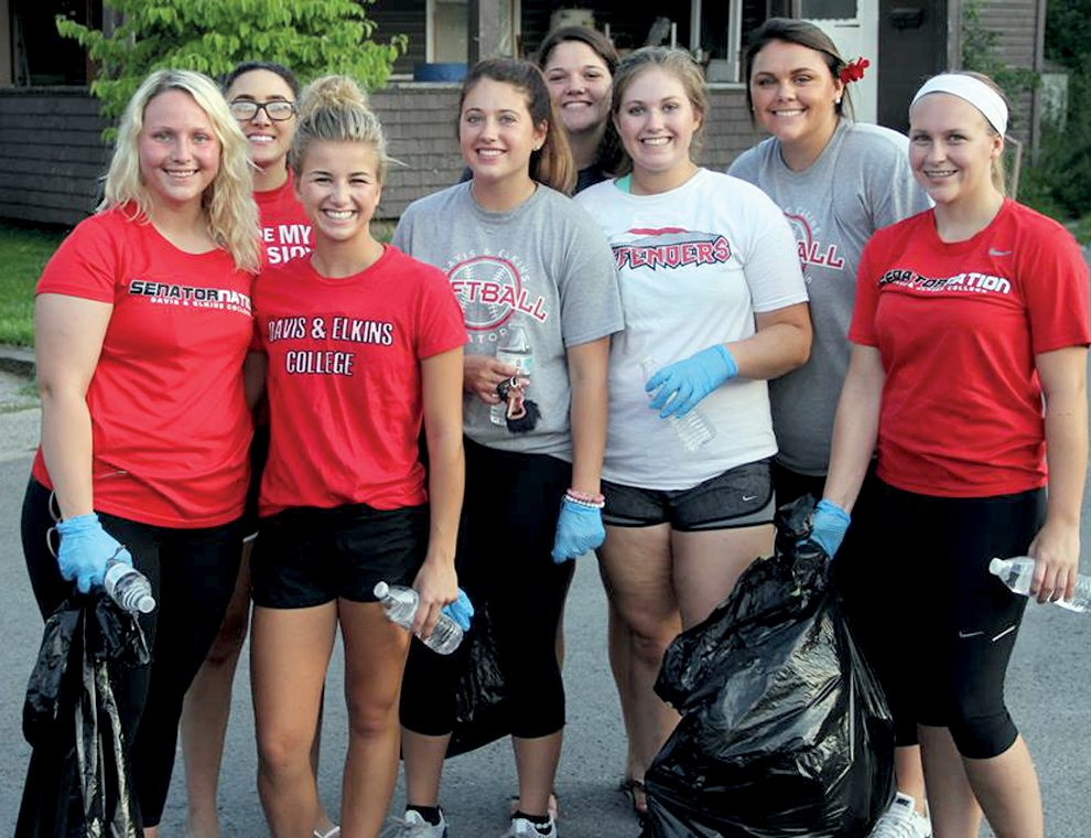 Submitted photo Many of the D&Estudent athletes said they enjoyed helping clean up Elkins Monday.
