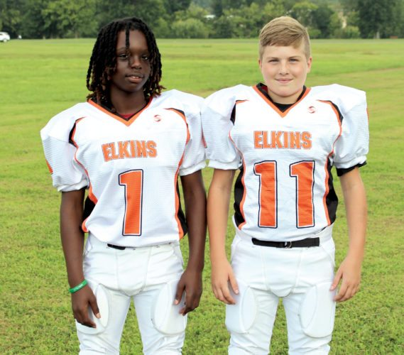The Inter-Mountain photo by Brooke Binns Thanks to many generous donations, the Elkins Bengals 10-12-year-old squad was able to purchase new uniforms for the 30-member team. Each player will have two jerseys and one pair of reversible pants for the season. Aziah Benson-Pendleton, 12, left, and Chase Workman, 12, are shown sporting their new uniforms.