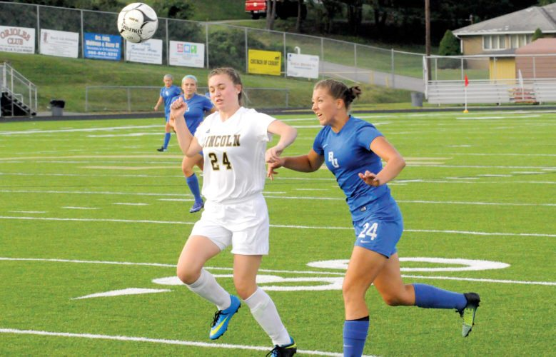 The Inter-Mountain photo by Tony Baisi Buckhannon-Upshur sophomore Brooklyn Maxwell moves the ball forward in the first half Thursday.