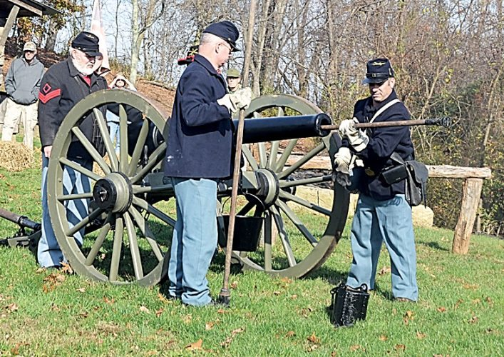 Photo by Brett Dunlap Many area Civil War re-enactment groups have cannons available they shoot off for demonstrations. Carlin's Battery D in Wood County is one of them. This picture was taken during a Veterans Day Ceremony in 2015 at Fort Boreman Park outside of Parkersburg, where Carlin's Battery D loaded and shot the cannon during a ceremony to honor veterans.