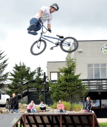 The Inter-Mountain photo by Ben Simmons  Those attending the FreeFall Festival enjoyed a Pro BMX bike demonstration featuring high-flying tricks.