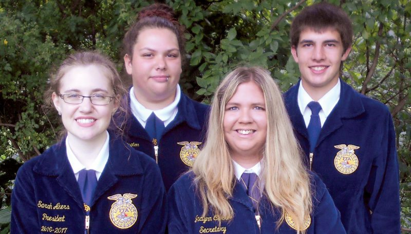 Submitted photos The entire chapter of the Elkins High School FFA worked hard the highest honors in the state, but four members made sure it happened: Sarah Akers, president, Dacie Pennington, reporter; Jaclynn Carroll, secretary, and Logan Rowan, sentinel.