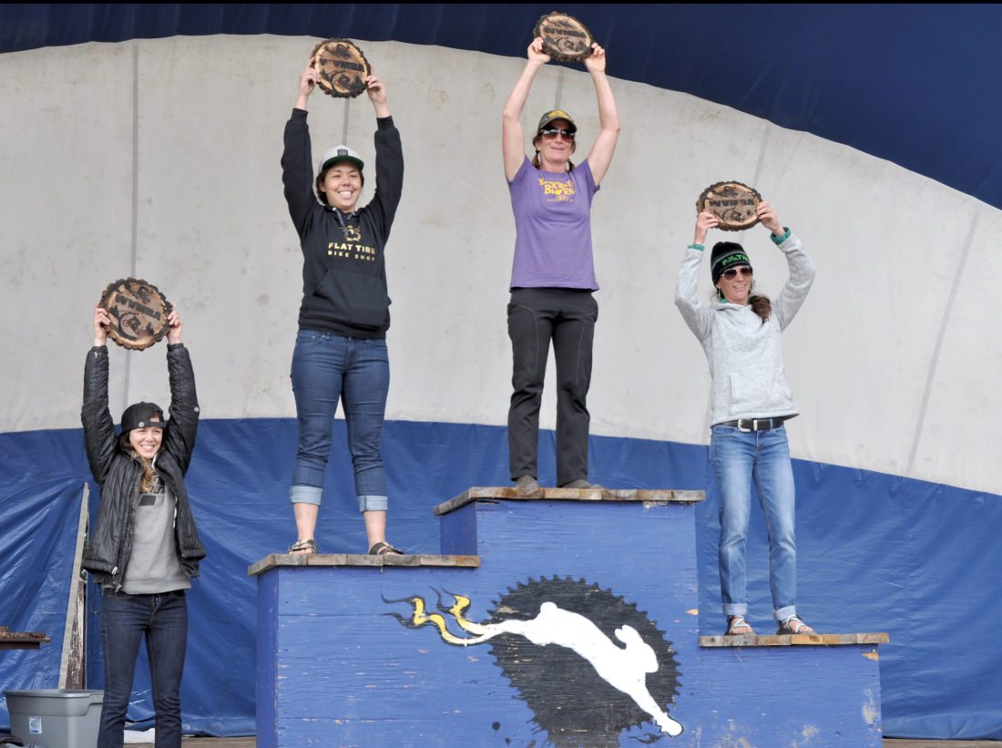 Sue Haywood, center, captured the Women's Pro Division Championship for the West Virginia Enduro Series with 79 points. Ashley Reefer, left of Haywood, finished in second with 73 points and Cassie Smith, right, placed third with 59 points. Angelica Pietranton, far left, took fifth overall. Shannon Tenwalde, not pictured, earned fourth place.
