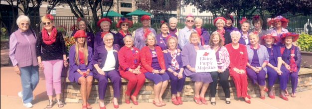 Submitted photo The Elkins Purple Majesties Red Hats hosted a September meeting Monday at the Stonewall Jackson Stillwaters Restaurant at the Stonewall Jackson Resort.