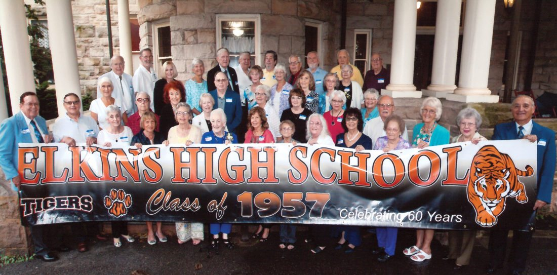 Submitted photo Attending the Elkins High School class of 1957 are, first row, Larry Ferguson, Bennie Siler, Twila 'Snookie' Stalnaker Marshall, Dottie Herring Wamsley, Carol Deavers Fretwell, Sharon Jack McQuain, Delores Elbon Flint, Beverly Whitt Hammer, Pauline Collett Newlon, Jackie Thornhill Bright, Mary Lou Hayes Irwin, Norma Howell Fitzwater, Andrea Giambrone Antolini and Carl Antolini; second row, Shirley Ailstock Bee, Barbara Smith Simmons, Connie Ware Jenkins, Ginger Godwin Rao, Marilyn Lantz Burch, Virginia Fansler Harman, Faye Hensil Thompson, Patty Elza Linger and Charles 'Champ' Lothes; third row, Jim Crowley, Pat Wright Fawcett, Barbara Irvine Divine, Ailene Schoonover Chenoweth, Ilene Schoonover Hedrick and Helen Lantz Ratzer; fourth row, Jim Mouse, Loren Chenoweth, Mary Ellen Ward Kennerdell, Barbara Myers Johns, Blaine Corrick, Herman Cox, Ron Kyle, Don Barkley, Dale Newlon, Tharon Jack and guest Fred Ratzer.