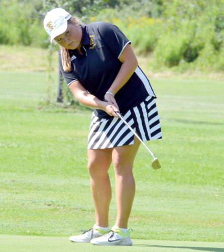 The Inter-Mountain file photo Tucker County's Carliegh Bolyard earned the low medal at the Potomac Valley Conference tournament Monday.
