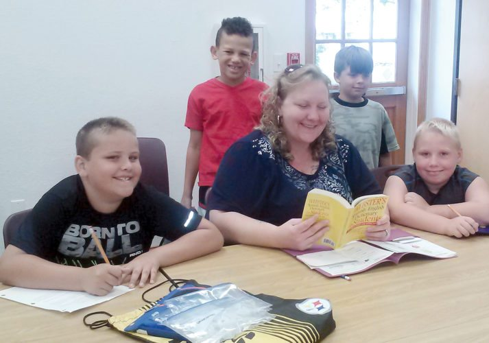 Submitted photo Studying are, front row, Donovan Rohr, Samantha Moyer and son, Liam; and back row: Donovan Howes and Kyle Hedrick. Not pictured are Patricia Angel and daughter, Emily Matthew.