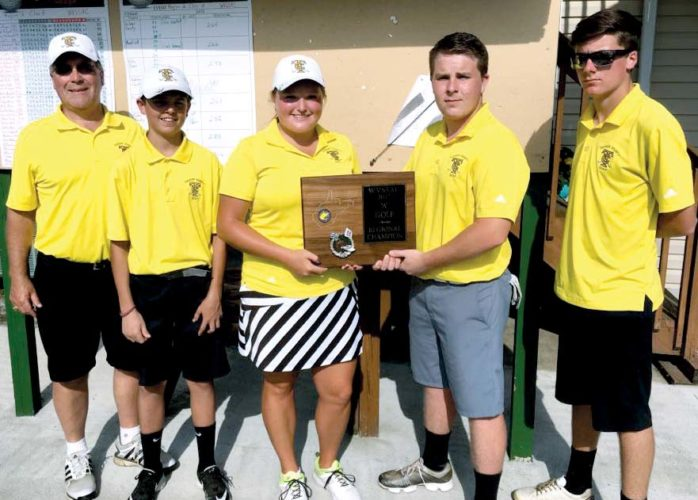 Submitted photo The Tucker County golf squad  poses for a photo after capturing the Class A Region 2 Title. The team includes, from left, Coach Sam Goughnour, Myles Paugh, Carleigh Bolyard, Connor Nestor and Easton Snyder.