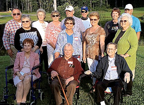 Submitted photo The l958 class of Tygarts Valley High School hosted its annual class gathering Aug. 5 at Don Kyle's farm. Classmates attending are, from left, first row, Shirley Hight Spence, Bill Cox and Abner Klaproth; second row, Mary Anne Forinash Hogan, Carol Arbogast Daft, Maxine Hogan Ball and Betty Starcher Chruszcz; and third row,  Don Kyle, Maryn Williams Shaw, Esther Pingley Winton, Joe Benny Swecker, Butch Cutright, Janet Hinzman Miller and Larry Smith.