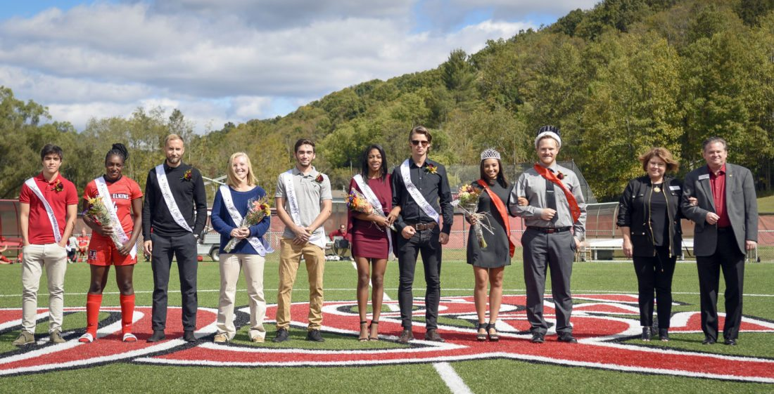 Submitted photo The Davis & Elkins College Homecoming Court was introduced Saturday afternoon between women's and men's soccer matches at Nuttall Field. From left are freshman prince Gustavo Lemos Carbral of Salvador, Brazil; sophomore princess Roxine Chambers of Gwynn Oak, Maryland; sophomore prince Tim Staerz of Bad Nauheim, Germany; junior princess Kelsie Roby of Petersburg; junior prince Ian Nelson of Woodbridge, Virginia; senior princess Aliyah Dukes of Clemson, South Carolina; senior prince Simon Hestad of Kristiansand, Norway; Miss D&E Sonja Skinner of Mill Creek; Mr. Senator Garrett Willis of Scherr; and First Lady Lisa Wood and President Chris A. Wood who crowned the college's newest royalty. Unavailable for the ceremony was freshman princess Madeline Brown, of Hedgesville, a member of the Senators cross country team.
