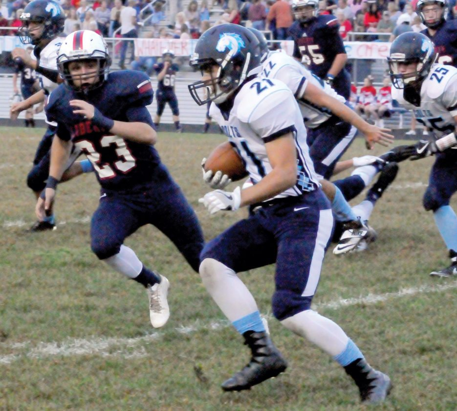 PBHS senior Hunter Gainer carries the ball in a game earlier this season.
