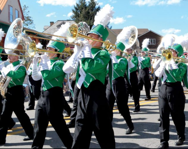 The Inter-Mountain photo by Tim MacVean The Marshall University 'Marching Thunder' band delights the crowd at the 81st Mountain State Forest Festival Grand Feature Parade Saturday afternoon in Elkins.