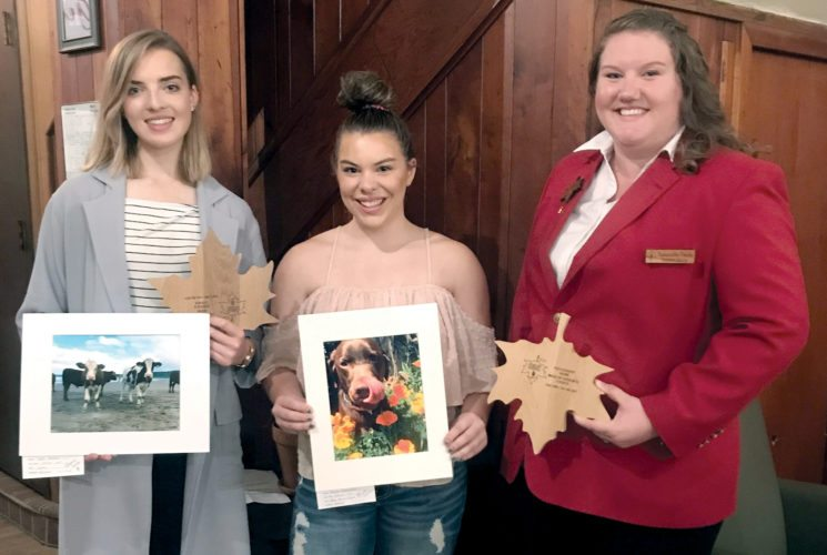 Submitted photo  Two Davis & Elkins College students received awards from the Mountain State Forest Festival Photography Contest. From left are Lydia Nelson, Queen's Choice winner; Karlie Richardson, Maid of Honor Sydney Leary's choice, and MSFF assistant director Samantha Davis.