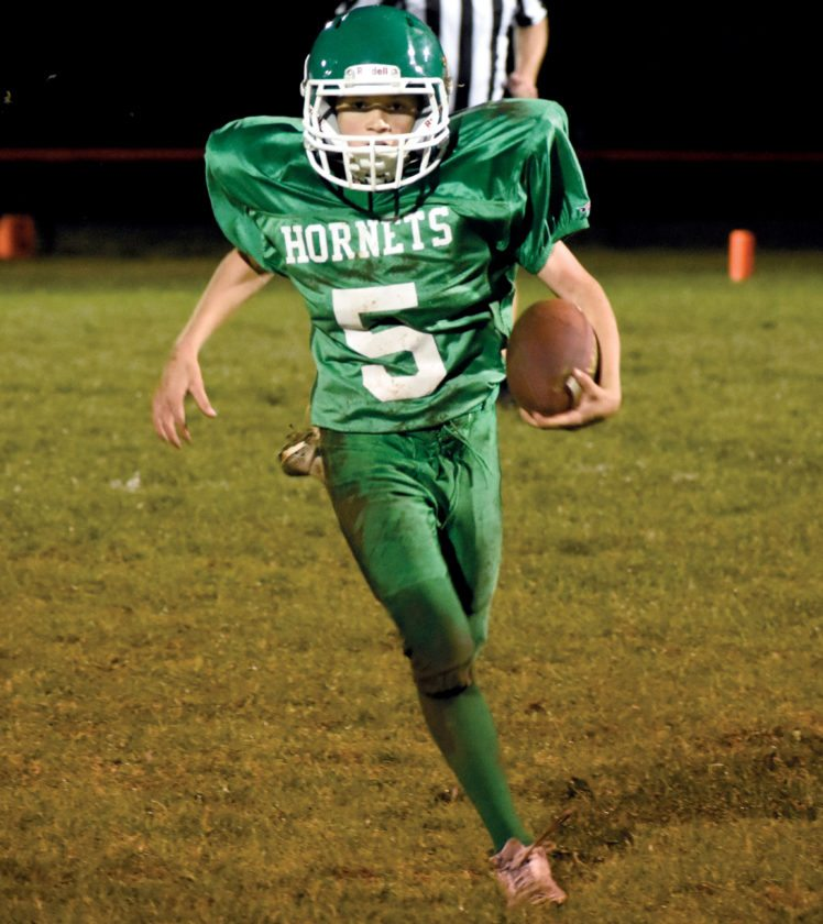 Charlie Smoak scored a touchdown for the Elkins Middle School Hornets Wednesday evening. EMS fell to Mannington Middle, 36-14.