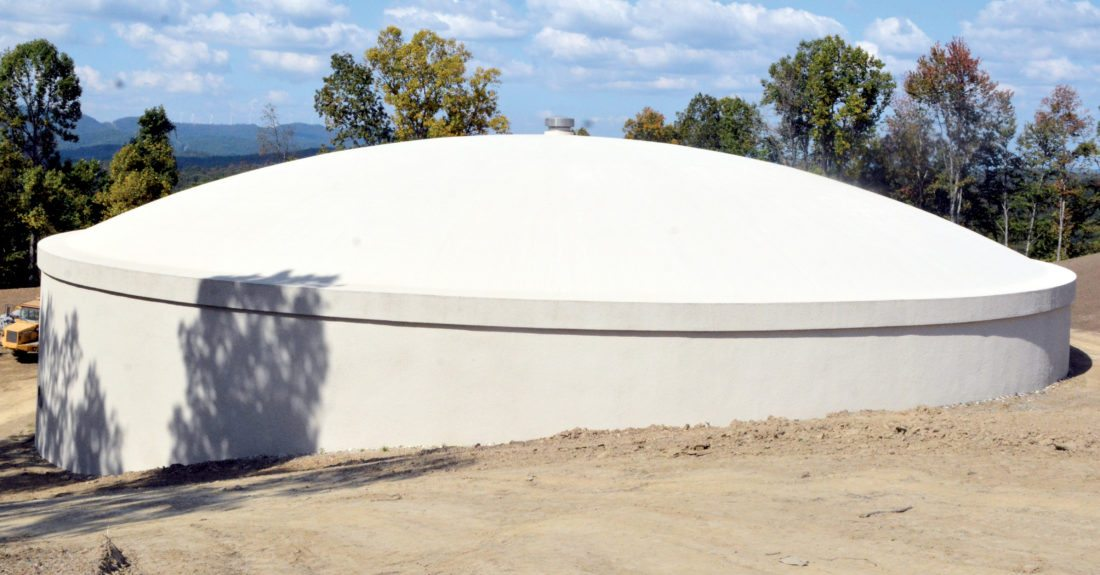 The Inter-Mountain photos by Brad Johnson A new 3-million-gallon reservoir tank has been constructed on the road leading up to the city of Elkins' new water plant. Officials say the new reservoir tank should last from 60 to 100 years.