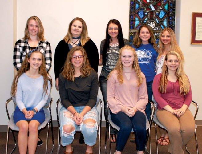 Submitted photo From left, first row seated, are Caitlyn Wendling, Haylee Rice, Johanna Smith and Desiree Smith; and second row standing, are Lauren Black, Mihala Phillips, Marissa Workman, Tamyra Nottingham and Kendra Mills.