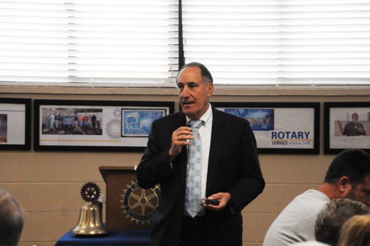 The Inter-Mountain photo by Beth Henry-Vance Randolph County Superintendent of Schools Gabriel J. 'Gabe' Devono speaks Monday to the Rotary Club of Elkins at the Elkins-Randolph County YMCA, outlining a range of goals and updates for the schools.