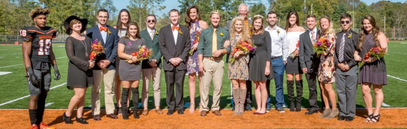 Submitted photos West Virginia Wesleyan College's homecoming court includes, from left, Kam Brooks, Chloe Sergent, Michael Winters, Madison Duvall, Hannah King, Logan Warner, Jeffrey McNeill, Leah Blend, King Wesley Felton, Queen Natalie Parkins, President Joel Thierstein, 2016 Queen Madison Ovies, Sam Brody, Joie Johnston, Matt Dearth, Sydney Pineault, John Antolini and Hannah Jones.