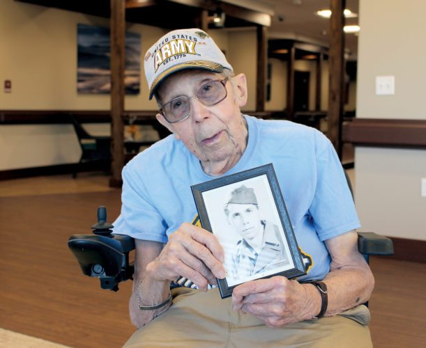 The Inter-Mountain photo by Brooke Binns Tucker County native Vincent DiBacco, shown here, served the United States Army during World War II. Now 96 years old, the veteran was on the beaches of Normandy during D-Day.